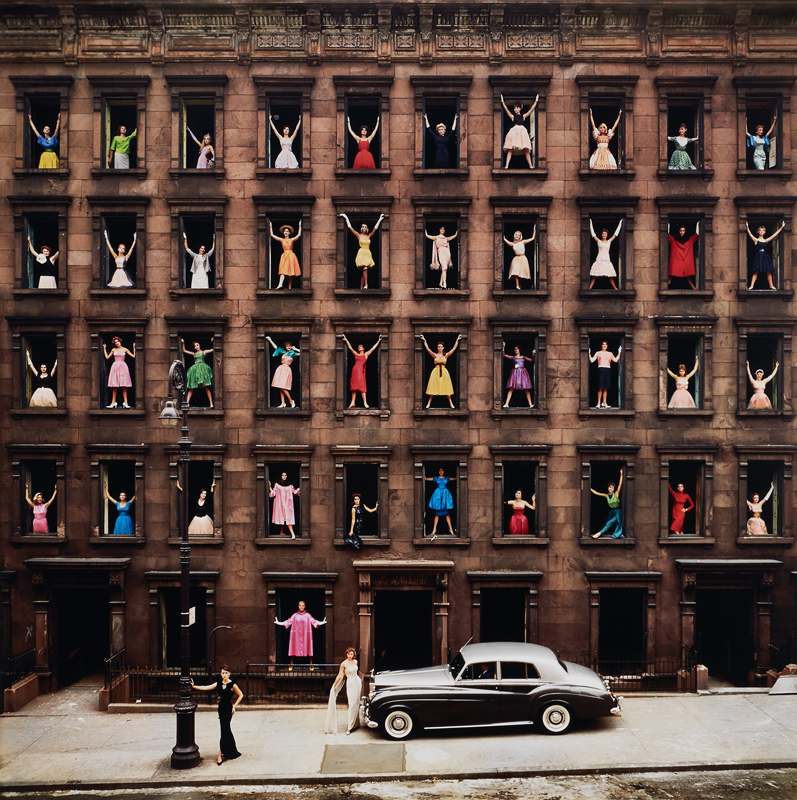 "Ormond Gigli ""Girls in the Windows, New York City"", 1960 Chromogenic print, printed later. 49 1/2 x 49 1/2 in. (125.7 x 125.7 cm)"