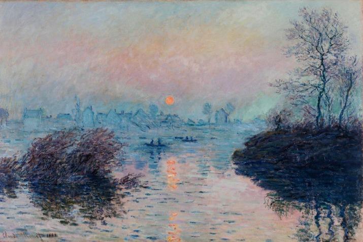 """Claude Monet, """"Soleil couchant sur la Seine à Lavacourt, effet d'hiver""""  (en 1880). Paris Musées / Musée des Beaux-Arts de la Ville de Paris, Petit Palais"""