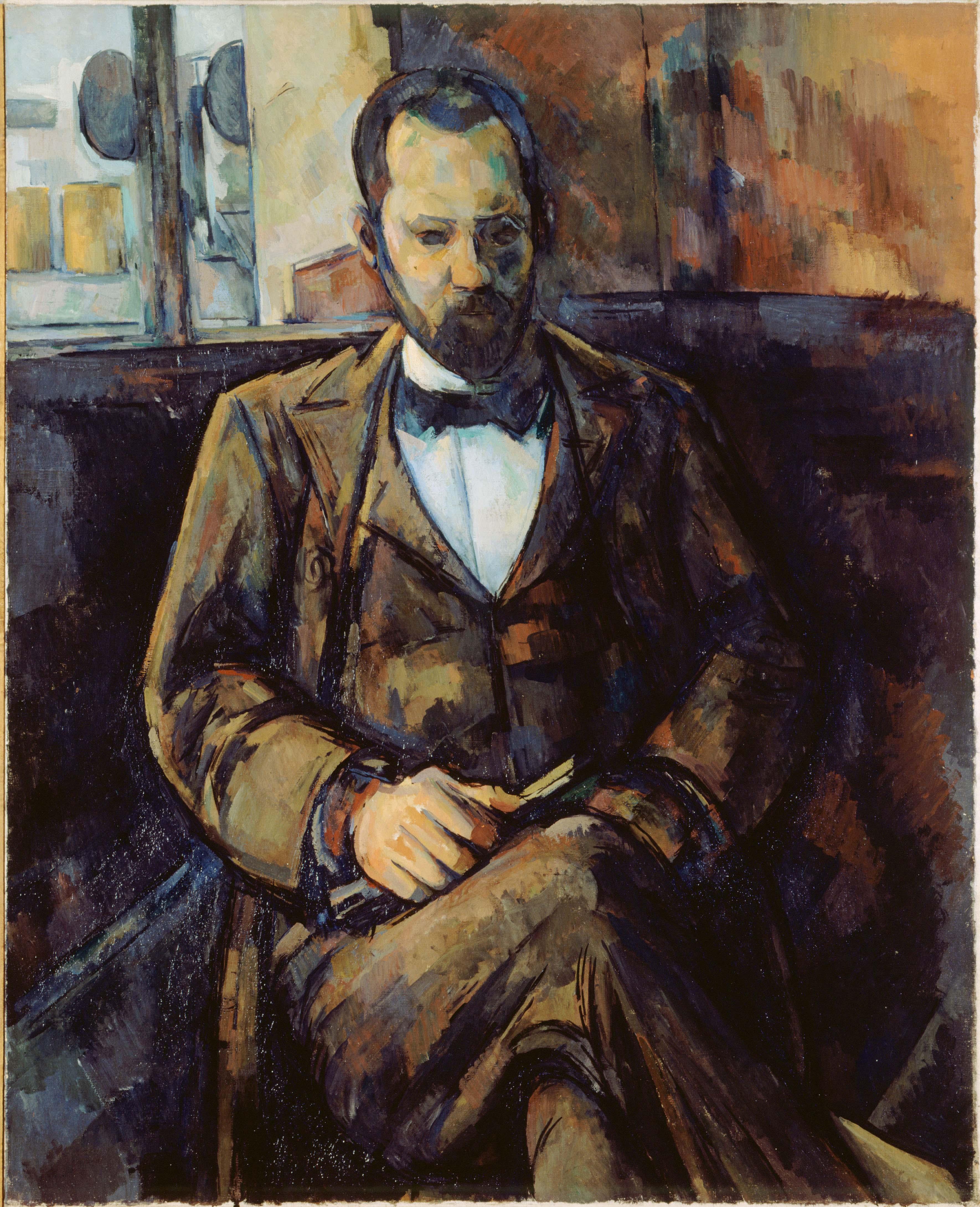 """Paul Cézanne, """"Portrait d'Ambroise Vollard"""" (1899). Musée d'Art moderne de la Ville de Paris."""