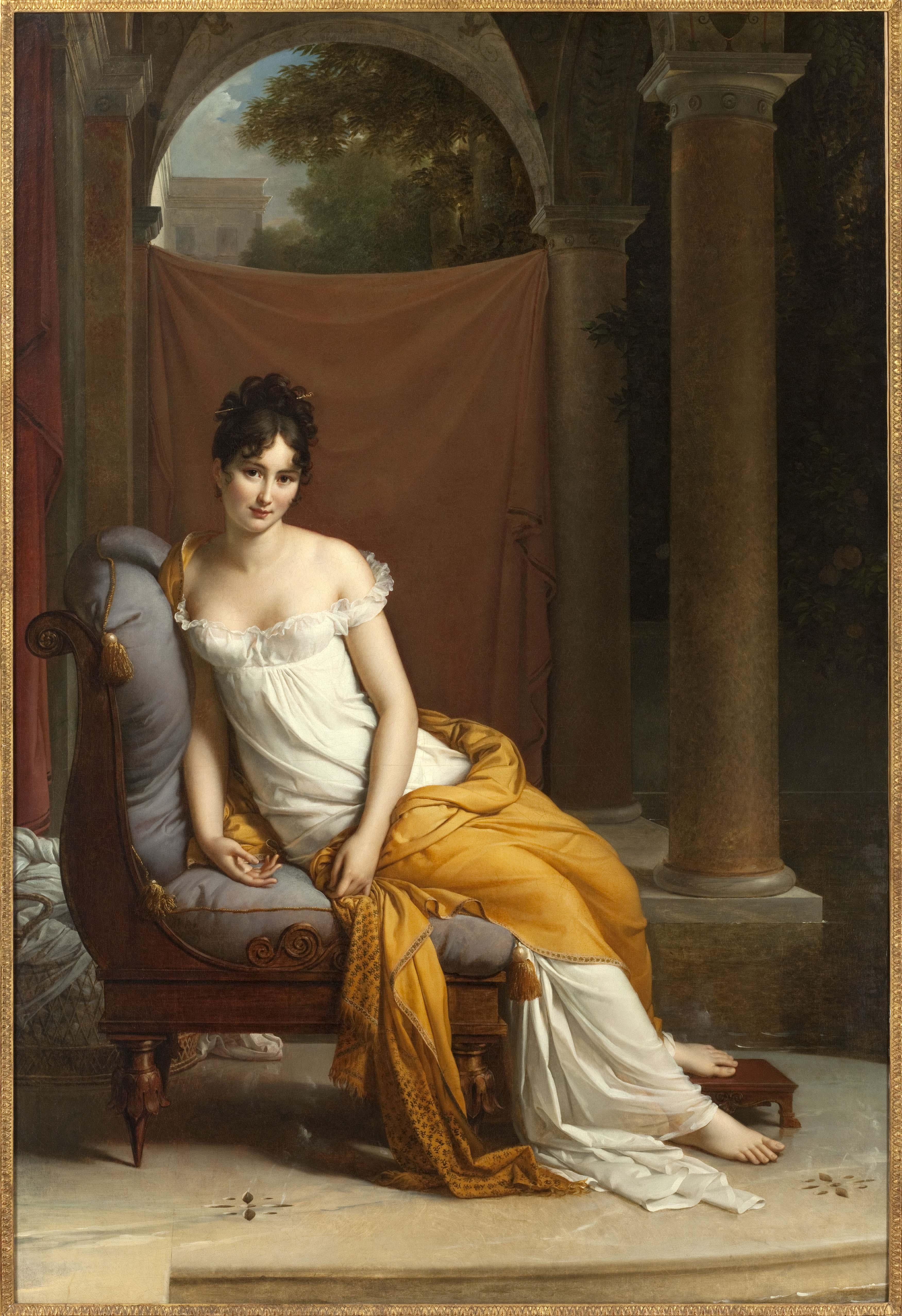 """Baron François Gérard, """"Portrait de Juliette Récamier, née Bernard (1777-1849)"""" (entre 1902 et 1905). Musée Carnavalet, Histoire de Paris."""