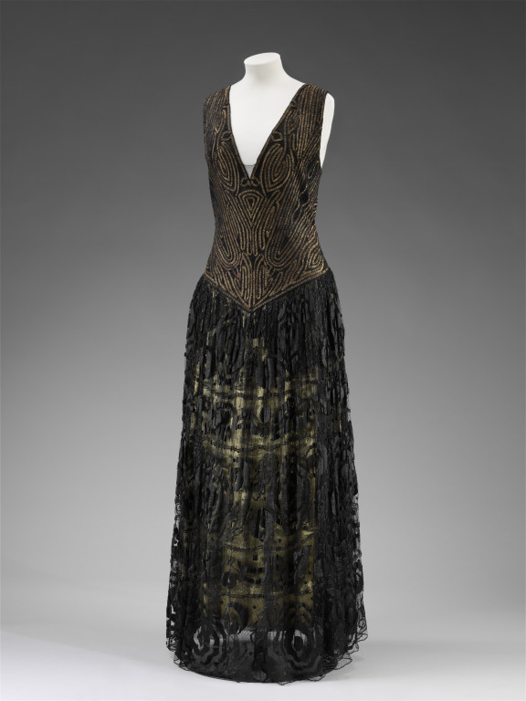 Paul Poiret samovar evening dress probably cuprammonium gilt metal thread and machine made lace france winter 1921-2