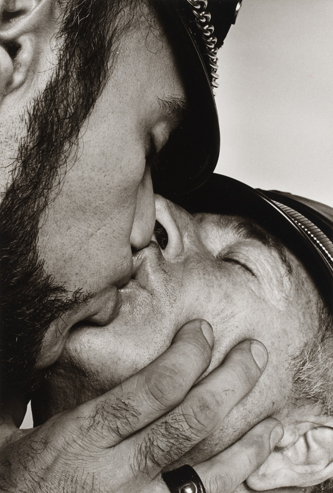 """Peter Hujar, """"Jay and Fernando [Two Men in Leather Kissing]"""" (ca. 1966). © The Peter Hujar Archive"""