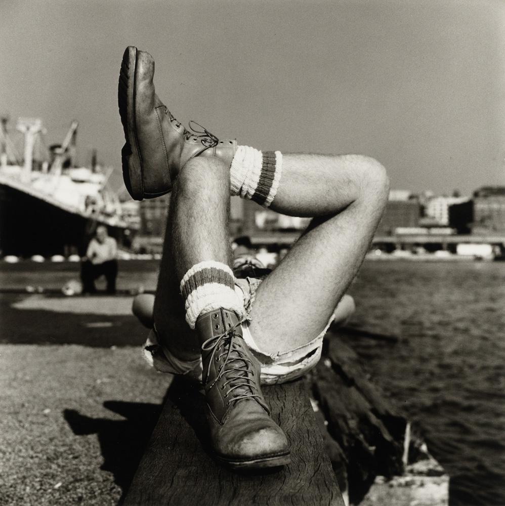 "Peter Hujar, ""Christopher Street Pier #2 (Crossed Legs)"" (1976). © The Peter Hujar Archive"