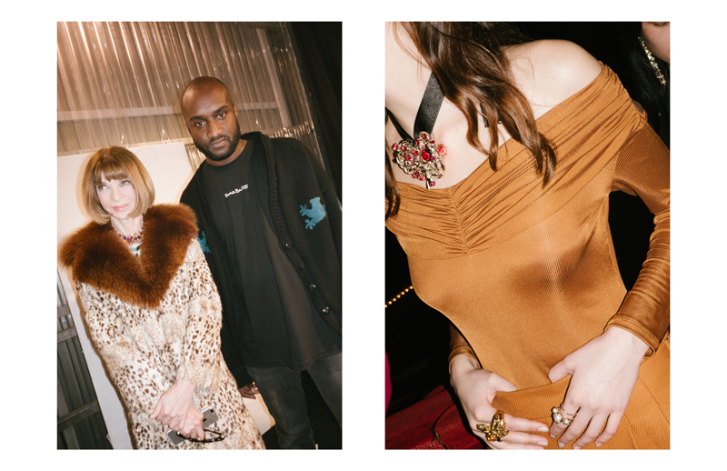 Anna Wintour and Virgil Abloh at the backstages of Off-White fall-winter 2017-2018 show, on the right backstages of Koché fall-winter 2017-2018 show.
