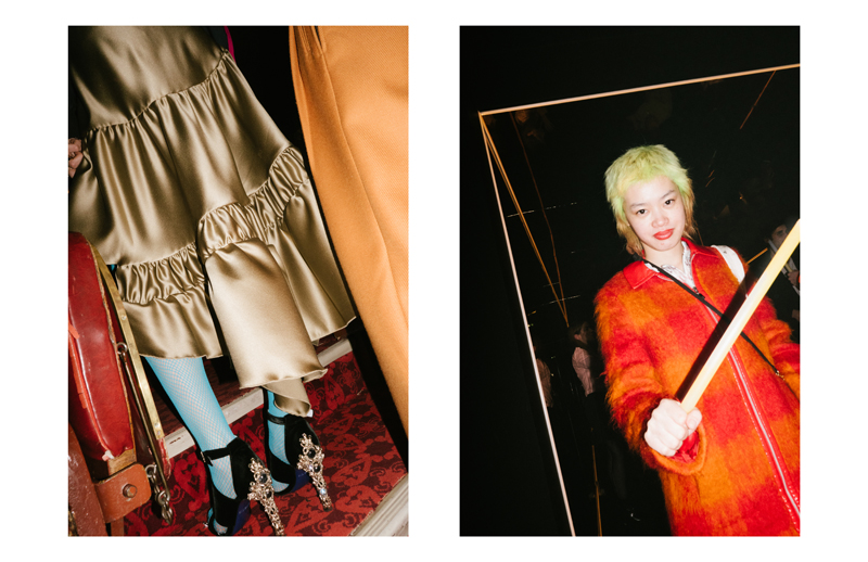 Backstages of Koché fall-winter 2017-2018 show, on the right the YSL Beauty Club party.