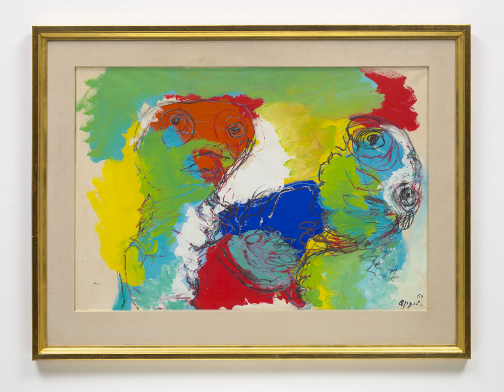 """Karel Appel, """"Untitled"""" (1963). Property from the Estate of the Family Geirlandt. Paper collage, acrylic and oil stick on paper, 70.2 x 100.7 cm. Estimate £10.000-15,000"""
