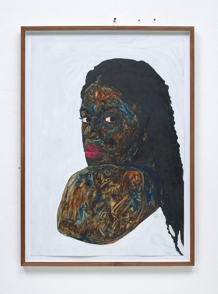 "Amoako Boafo, ""Joy"" (2019). Oil on paper, 100 x 70 cm. Estimate £15,000-20,000"