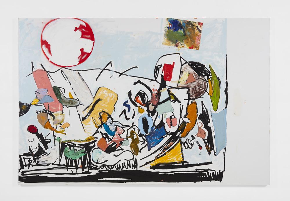 "Eddie Martinez, ""You Come Up Short"" (2016). Silkscreen ink, oil paint, enamel, spray paint, thumbtack, palette paper and metal on canvas, 182.9 x 274.3 cm. Estimate £200,000-300,000"