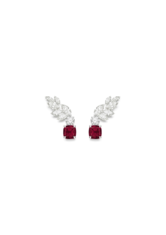 Boucles d'oreille rubis Piaget Treasures. Boucles d'oreille en or blanc serties de 2 diamants taille brillant (environ 0,46 ct), de 12 diamants taille marquise (environ 1,88 ct) et de 2 rubis du Mozambique taille coussin (environ 1,55 ct et 1,33 ct)