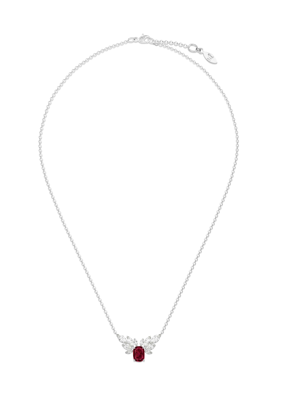 Collier rubis Piaget Treasures. Collier en or blanc serti de 22 diamants taille brillant (environ 0,04 ct), de 10 diamants taille marquise (environ 1,68 ct) et d'un rubis du Mozambique taille coussin (environ 2,49 cts)