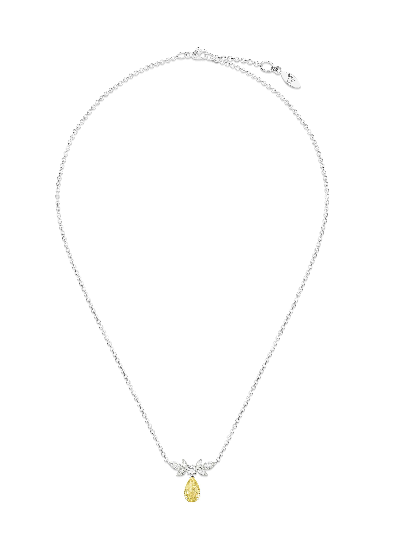 Collier diamant jaune Piaget Treasures. Collier en or blanc serti de 23 diamants taille brillant (environ 0,21 ct), de 6 diamants taille marquise (environ 0,72 ct) et d'un diamant jaune taille en poire (environ 1,72 ct)