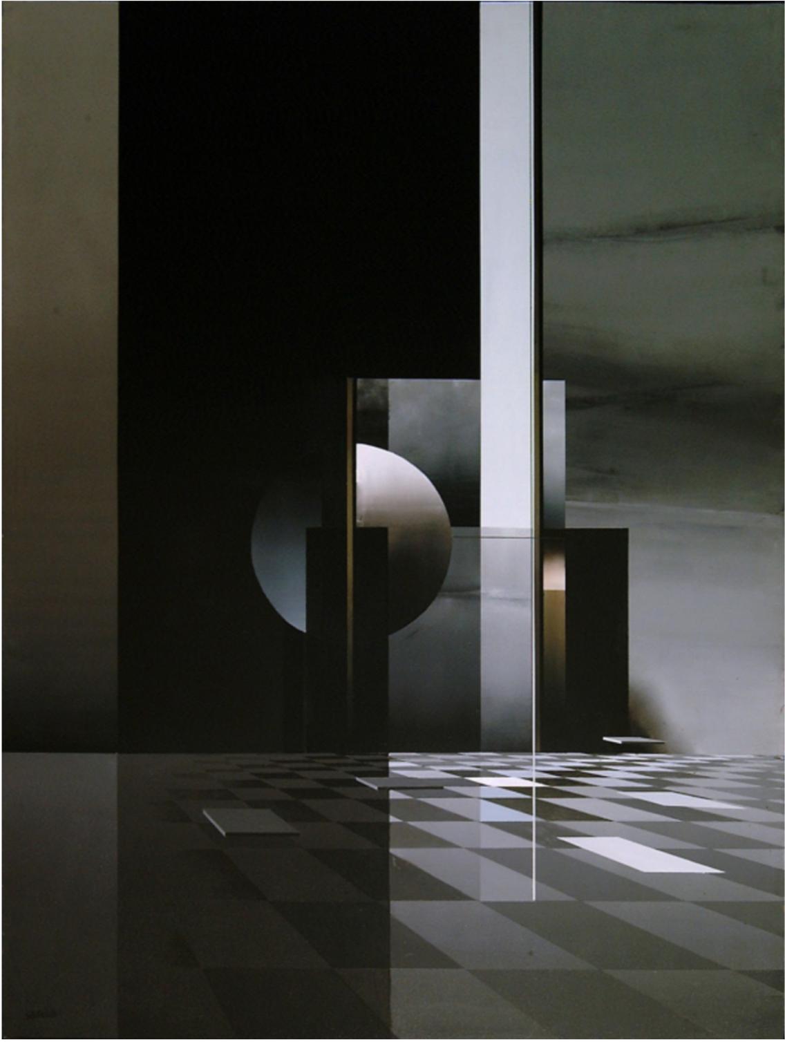 """Andrés Segovia (1929-1996), """"Nuit et Jour"""" (1989). Acrylique sur panneau. Signé en bas à droite. Daté et titré au dos. 130 x 97 cm"""