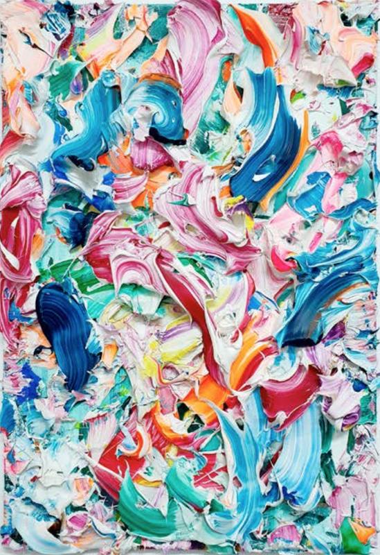 """Yann Houri (né en 1990), """"Sans titre"""" (2018). Acrylique sur toile 50 × 75 cm. Don de l'artiste. Estimation indicative : 6 000 / 9 000 € Prix de départ : 500 €"""