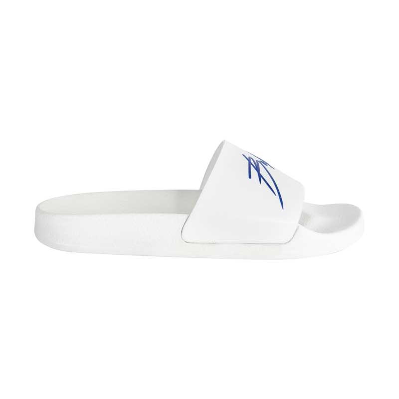 Pool side claquette blanche logo bleu