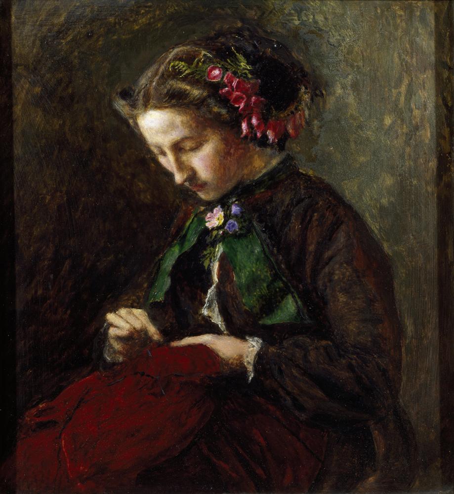 """Effie with foxgloves in her ""par John Everett Millais"