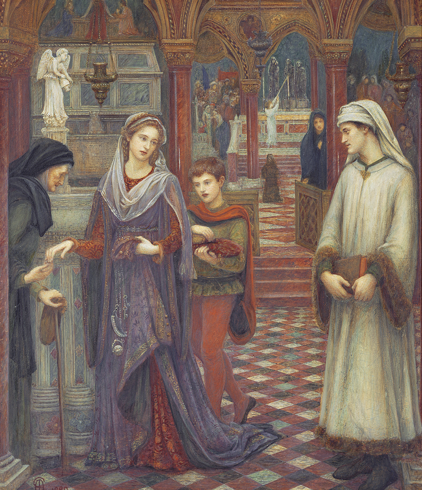 """The First Meeting of Petrarch and Laura "" par Marie Spartali Stillman."