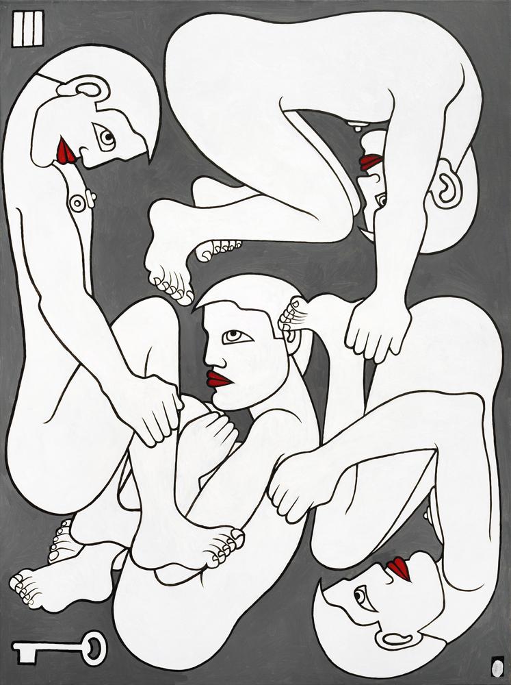 """""""Quatre en cellule"""", Didier Chamizo,  2010, acrylique sur toile, prêt de Véronique Duchemin, ADAGP 2019"""