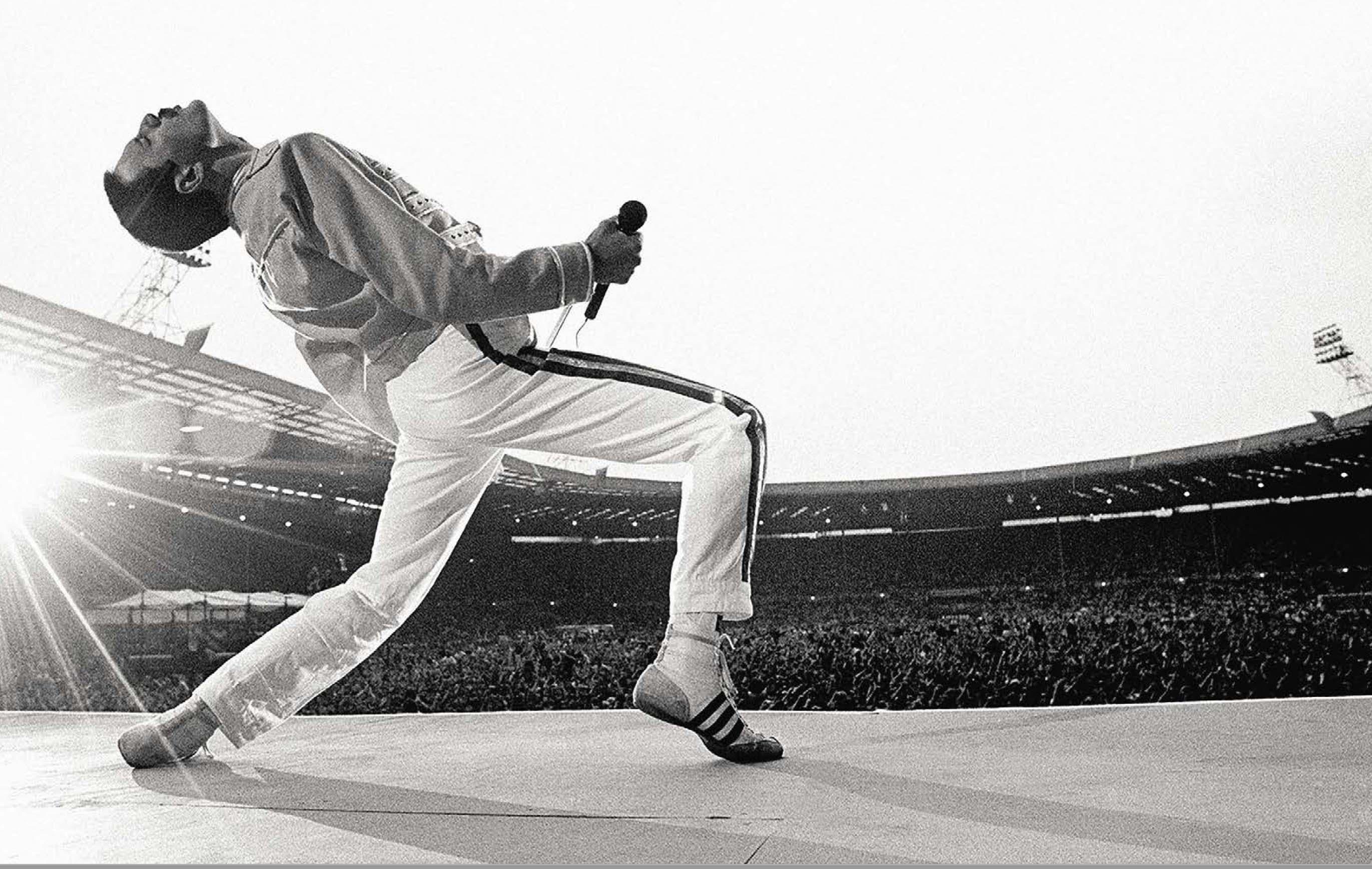 """Le cliché ultime de Freddie devant la foule rassemblée pour le """"Live Aid"""" en 1986. Neal Preston."""