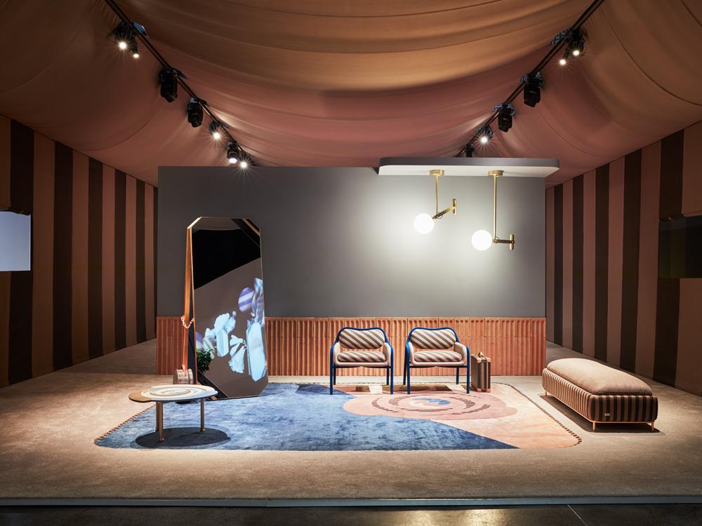 "Vue du stand à la Milan Design Week 2019, collection ""Back Home"", Fendi & Fendi Casa par Cristina Celestino. Photographie d'Omar Sartor."