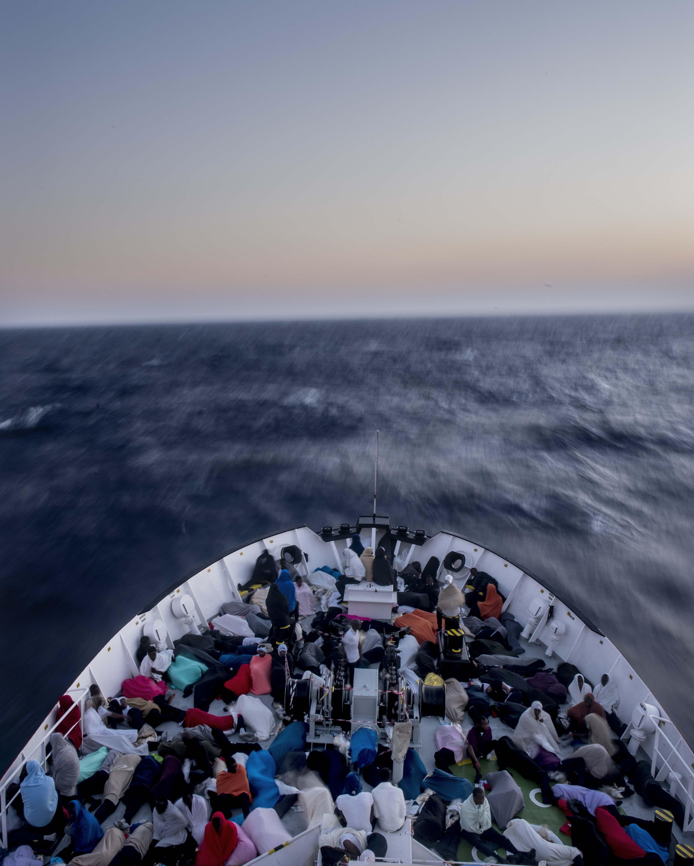 MV Aquarius. Mer Méditerranée. Juillet 2017. © Bruno Fert