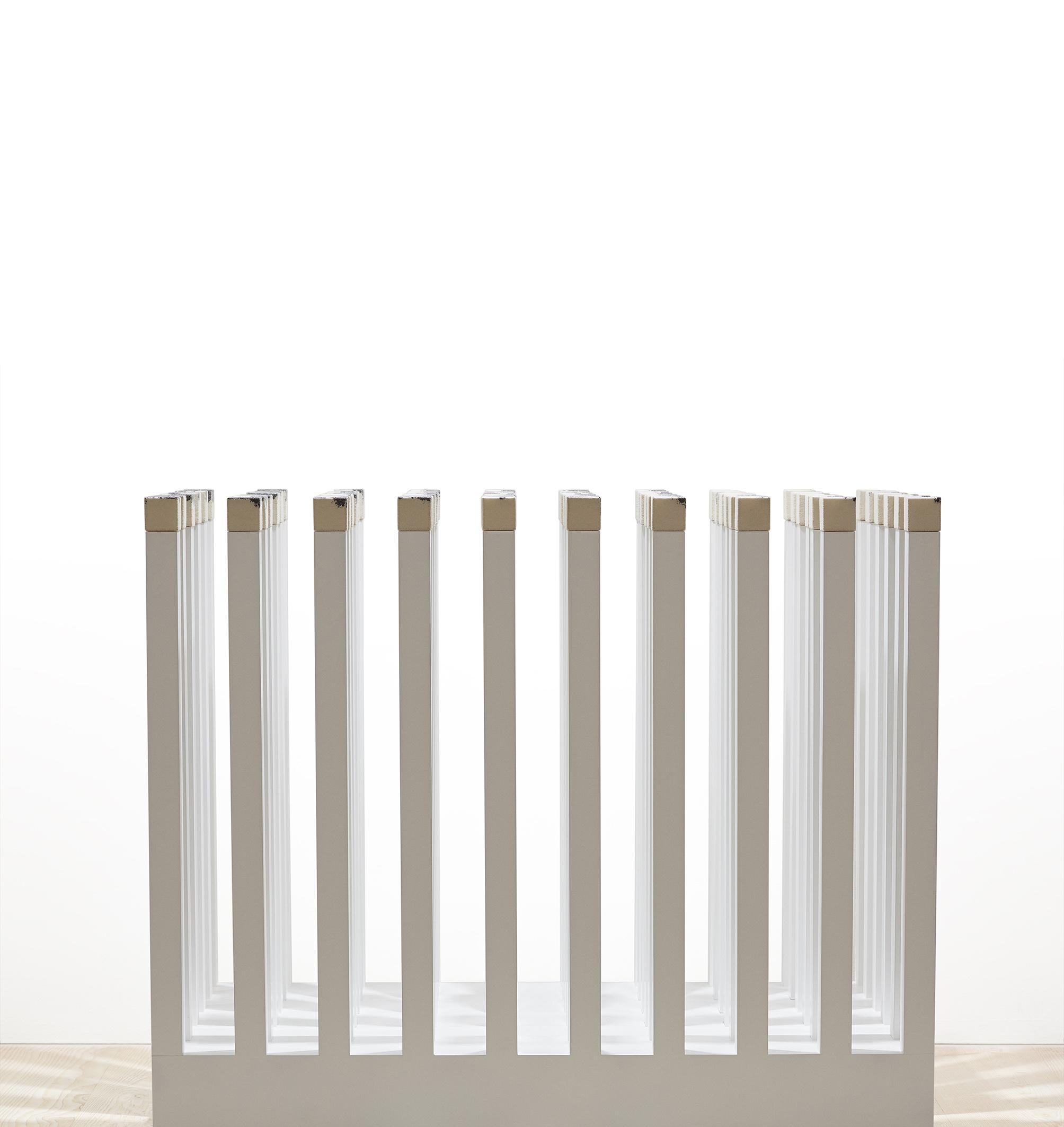 "Richard McVetis, United Kingdom ""Variations of a Stitched Cube"", wool, cotton, Styrofoam, MDF, 850 x 1500 x 1200 mm (2017)"
