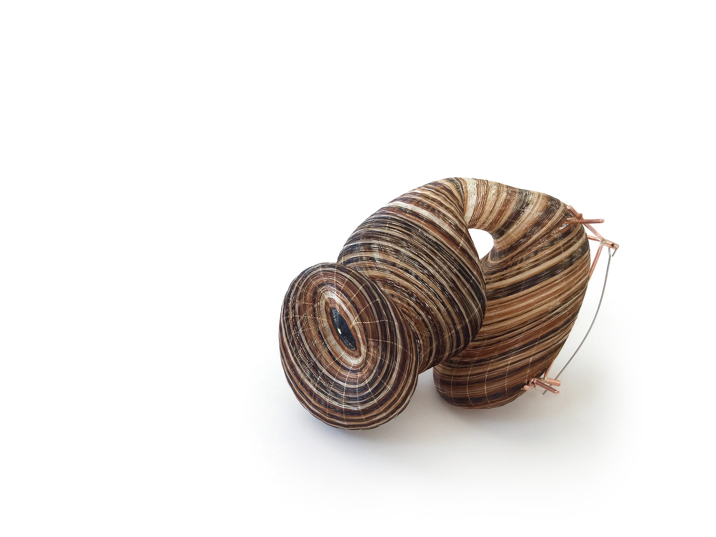 """Rita Soto, Chile """"Folds of Memory"""", horsehair, vegetal fiber, copper, stainless silver, dimensions variable (2017)"""