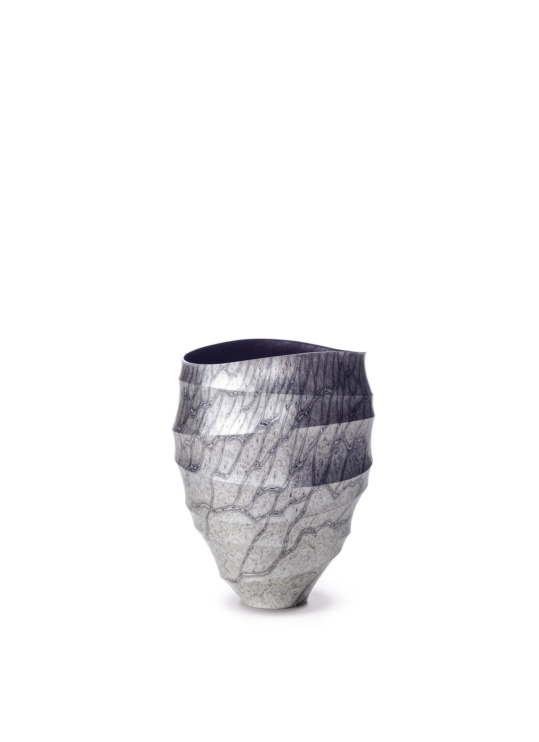 "Ryuhei Sako, Japan ""Mokume-gane Vase"", silver, copper, syakudo, shibuichi, kuromido, 163 x 155 x 213 mm (2017)"