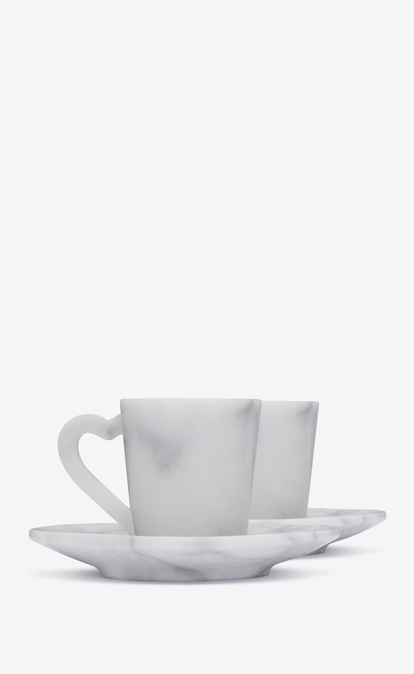 Service à café en marbre blanc Saint Laurent Rive Droite