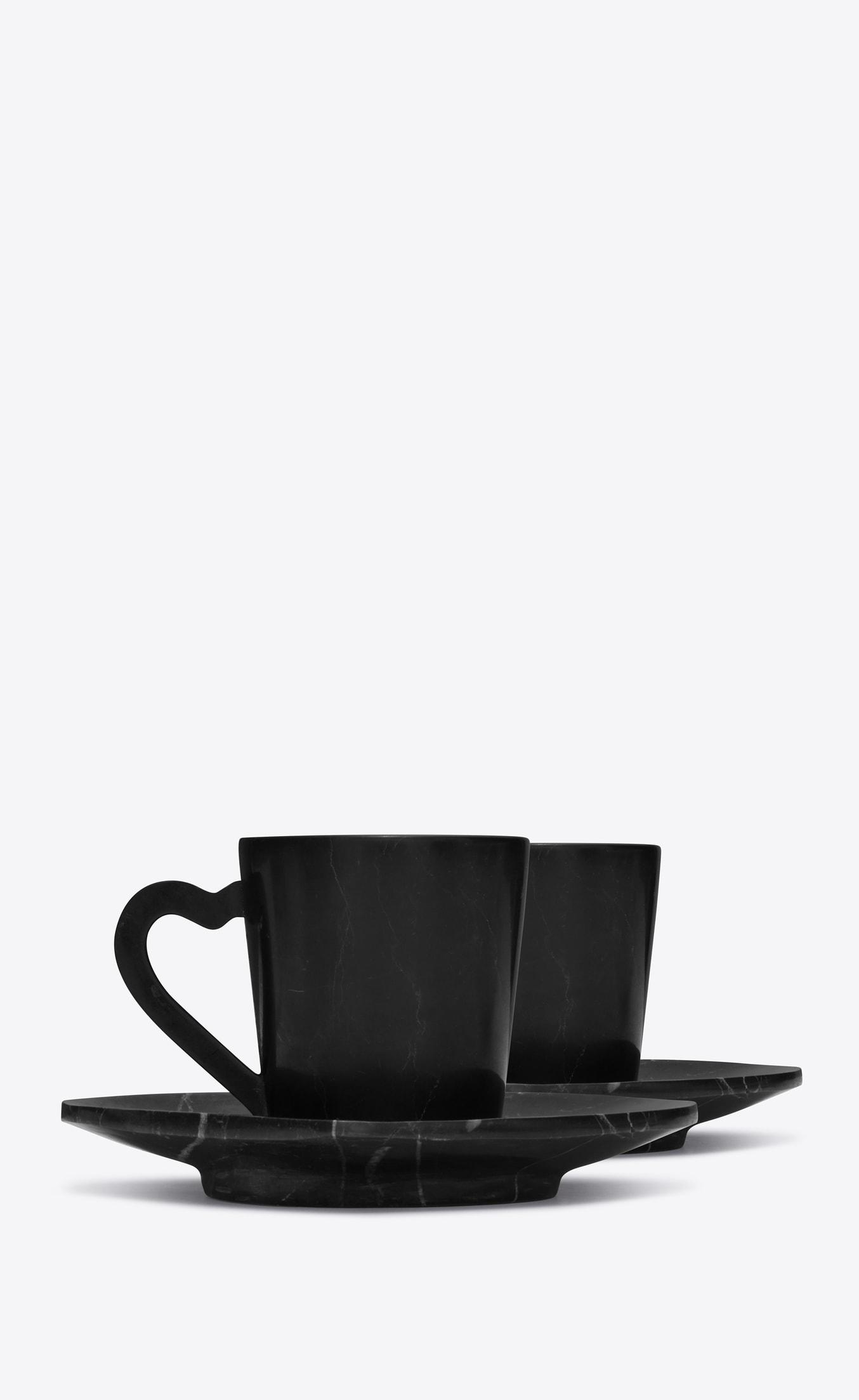 Service à café en marbre noir Saint Laurent Rive Droite