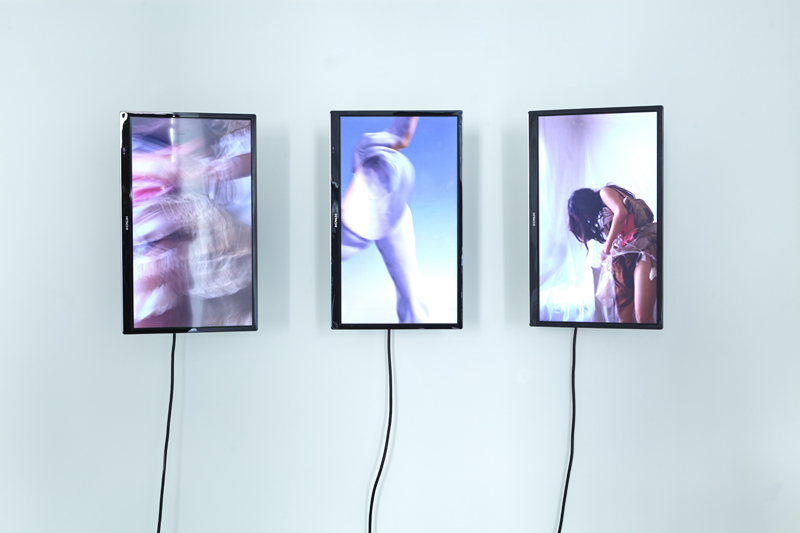 "Salomé Chatriot, ""Nymphose"" (2019) en collaboration avec Filip-Andreas Skrapic. Triptyque vidéo. 300 x 100 x 10 cm"