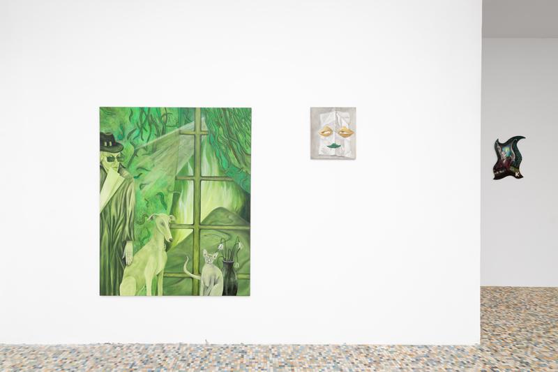 """Vue de l'exposition """"La Première"""" : Sarah Margnetti, Tanja Nis-Hansen, et Georgia Sowerby, mai à juin 2019 chez Sans titre (2016)."""