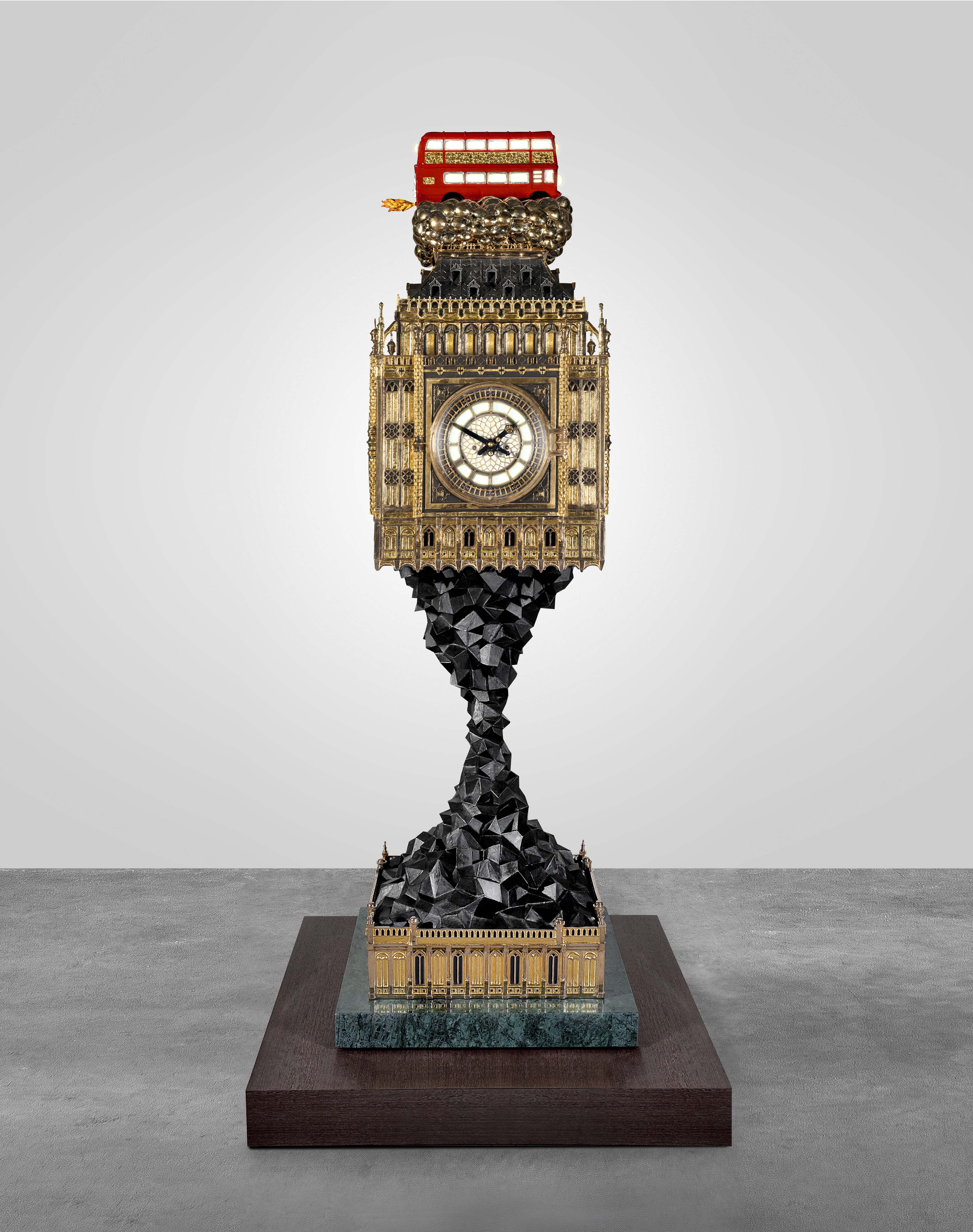 BIG BEN (AFTERMATH) 2009 - 2014 POLISHED AND PATINATEDED BRONZE, ALUMINIUM, BRASS, 24K GILDING AND SILVERLEAF, HAND PAINTINGS, HAND BLOWN GLASS, WESTMINSTER CLOCKWORKS AND GONG, LED FITTINGS, STEEL CONSTRUCTION, POLISHED VERDE GUATEMALA MARBLE, WENGÉ H250 L120 W120 CM / H98.4 L47.2 W47.2 IN LIMITED EDITION OF PROTOTYPE + 5 + 2 AP