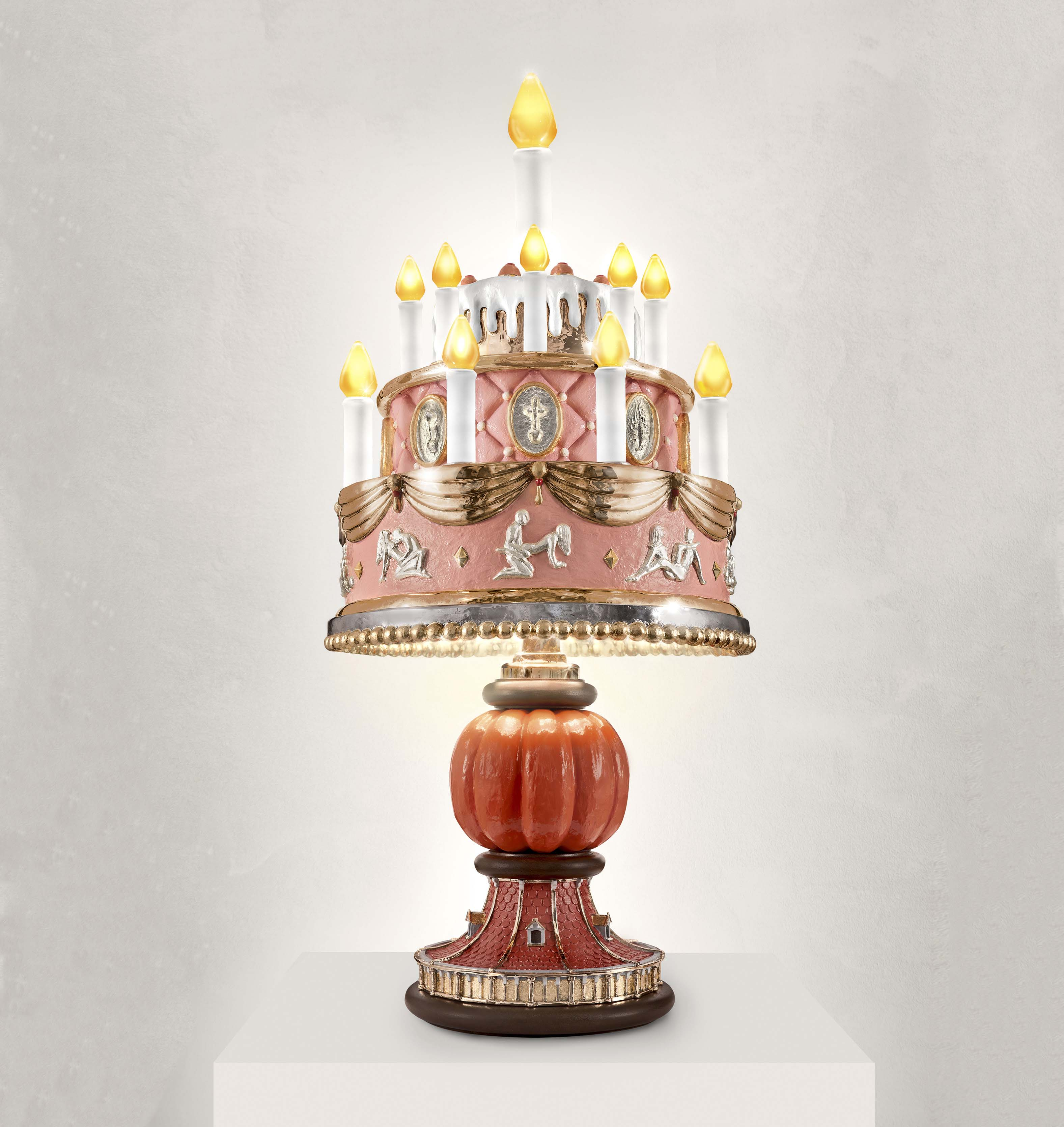 SEX CAKE 2016 POLISHED BRONZE, HANDBLOWN GLASS CANDLE, HANDPAINTING, SILVERLEAF, GOLDLEAF, LED H85 L45 W45 CM / H33.5 L17.1 W17.1 IN LIMITED EDITION OF 6 + 3 AP + PROTOTYPE