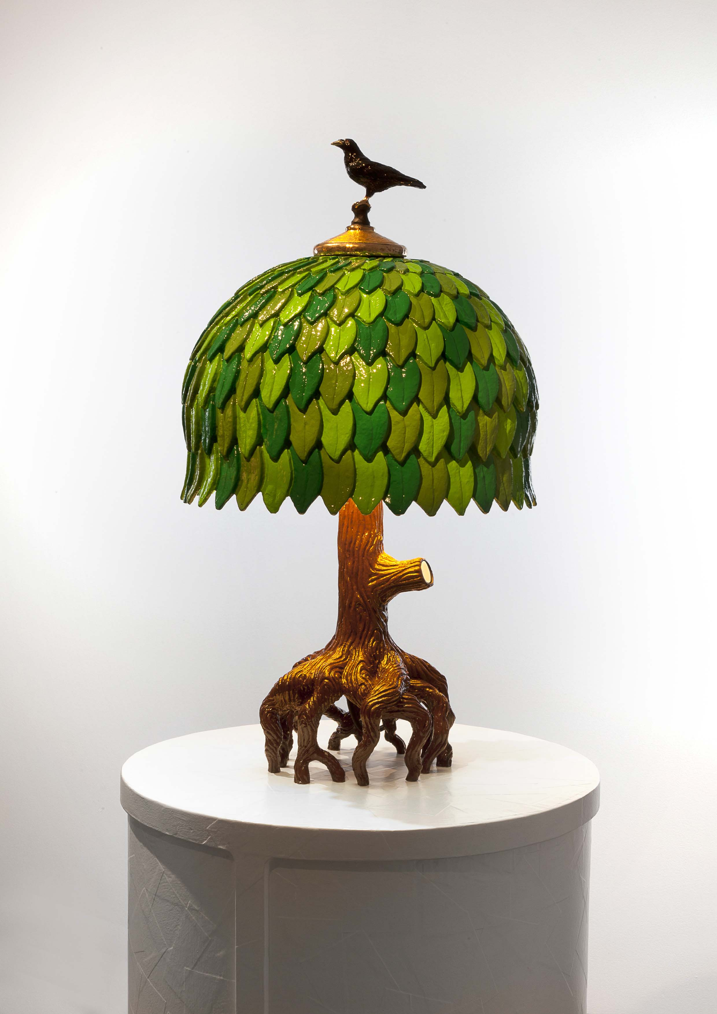 TIFFANY TREE LAMP 2017 POLISHED AND PATINATED BRONZE, HAND PAINTED, LED H60 L39 W39 CM / H23.6 L15.4 W15.4 IN LIMITED EDITION OF PROTOTYPE 8 + 3 AP