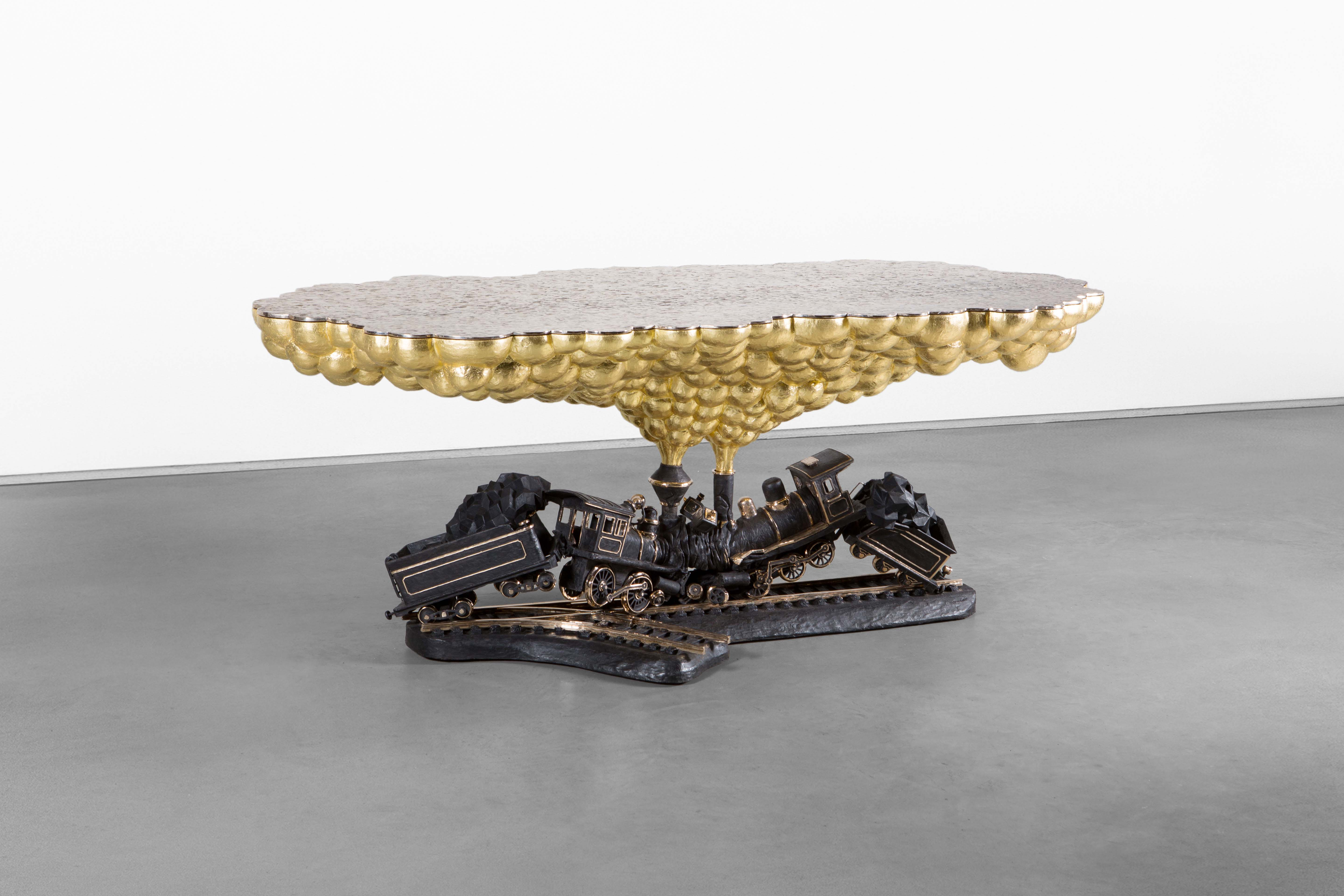 TRAIN CRASH TABLE 2014 POLISHED AND PATINATED BRONZE, 24K GILDING H90 L200 W75 CM / H35.4 L78.7 W29.5 IN LIMITED EDITION OF 8 + 4