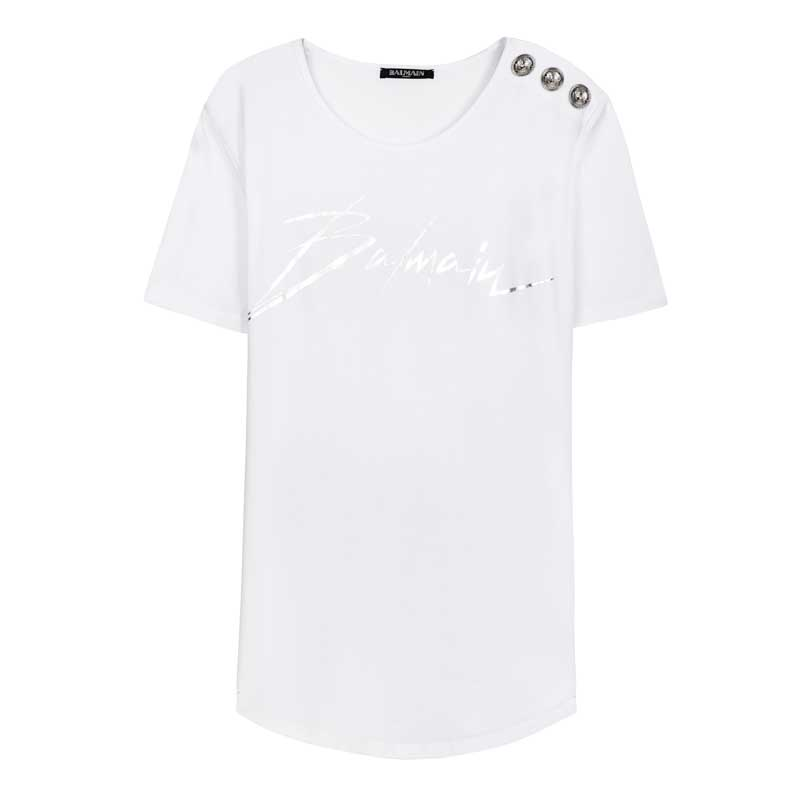 Tee-shirt imprimé logo Balmain laminato argent,