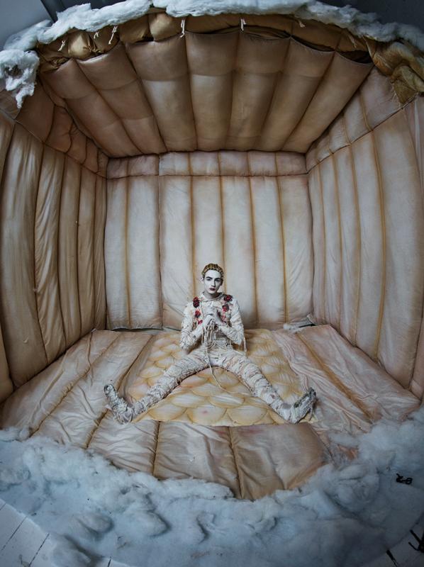 "Tim Walker, Soldiers of Tomorrow, ""Josephine Jones"". Styling Jack Appleyard. Knitting Josephine Cowell. London (2018) © Tim Walker Studio"