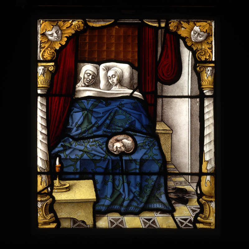 'Tobias and Sara on their Wedding Night', about 1520, Cologne, Germany, Stained glass panel (c) Victoria and Albert Museum, London
