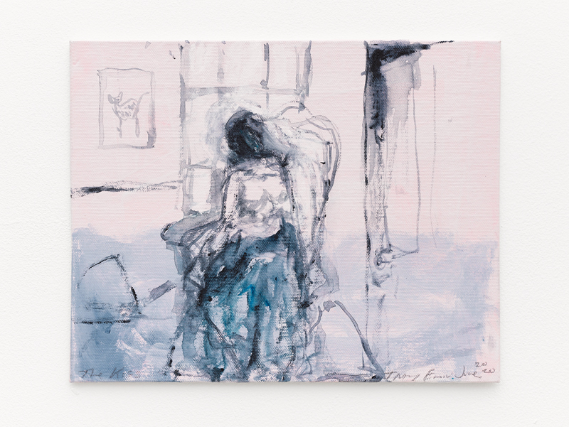 "Tracey Emin, ""The Kiss"" (2020). Acrylic on canvas, 20.3 x 25.4 x 0.5 cm © Tracey Emin. All rights reserved, DACS 2020. © White Cube (Theo Christelis)"