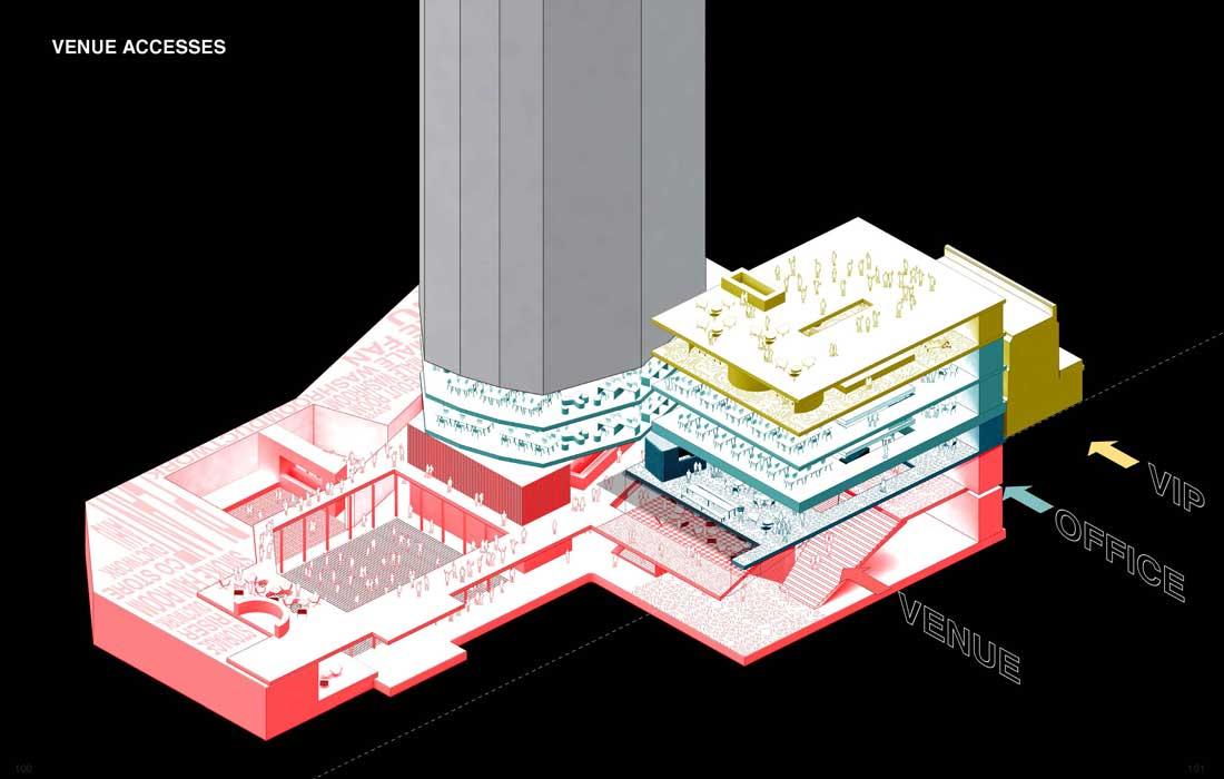 OMA/Rem Koolhaas, Isometric Plan Ministry of Sound II, London, 2015. © OMA