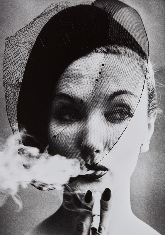 "William Klein ""Smoke + Veil, Paris (Vogue)"" 1958 Gelatin silver print, printed later. 17 3/4 x 12 5/8 in. (45.1 x 32.1 cm)"