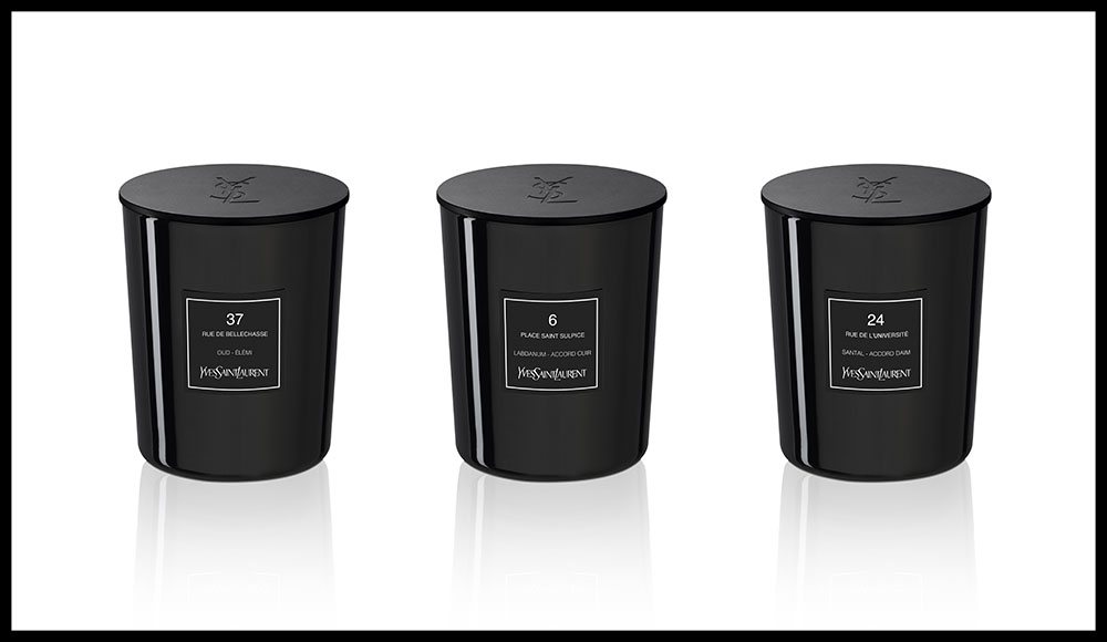 Les trois nouvelles fragrances de la collection Couture sortent en version bougies d'intérieur. Collection Couture, 37 rue de Bellechasse, 6 place Saint Sulpice et 24 rue de l'Université, YVES SAINT LAURENT. 78 euros la bougie de 180 g. En vente dans les boutiques éponymes et dans les grands magasins.