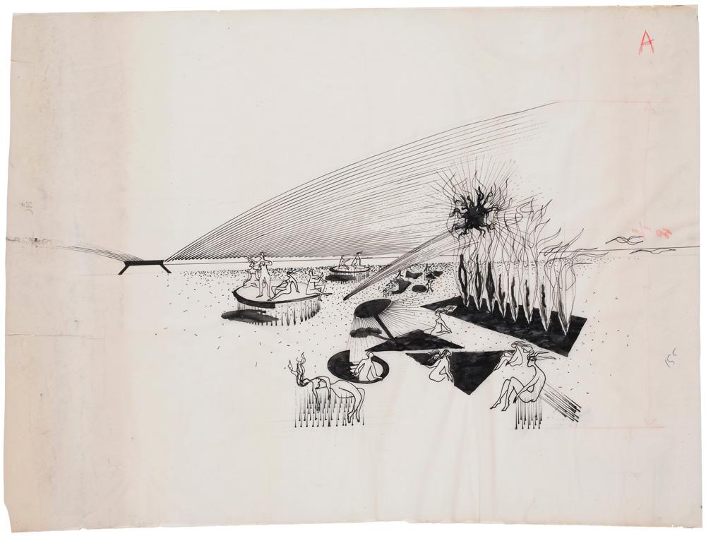 """Yves Klein, """"Cité climatisée, toit d'air, murs de feu, lit d'air, (D93)"""" (1961). © Succession Yves Klein c/o ADAGP, Paris"""