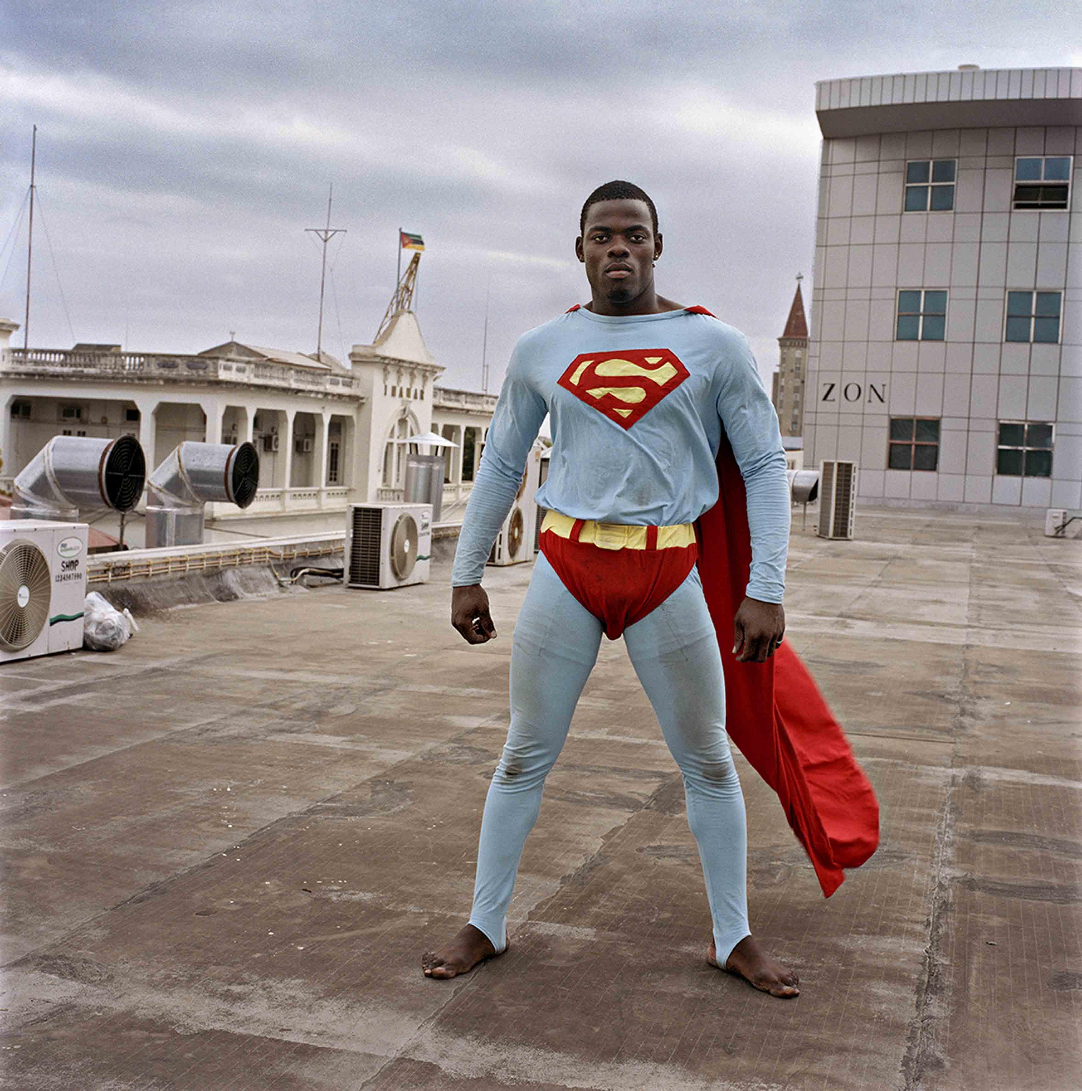 © Ditte Haarløv Johnsen, Maputo Diary, Superman on the roof of the new shopping mall, 2009.