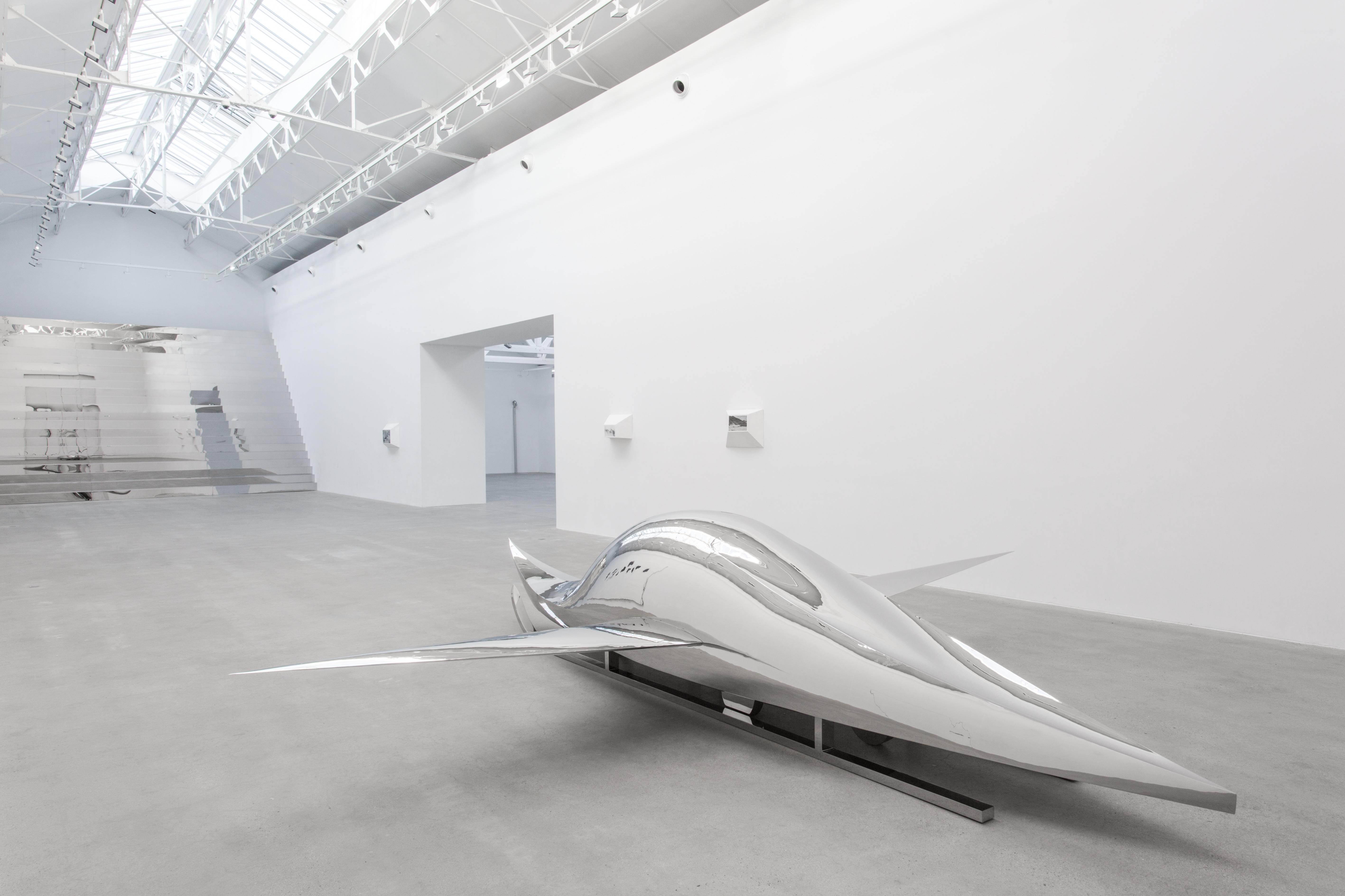 """Vue de l'nstallation """"A Plane, a Boat, a Car, a Sled"""" (2011) de Not Vital, acier chromé, 116 x 367 x 600 cm."""