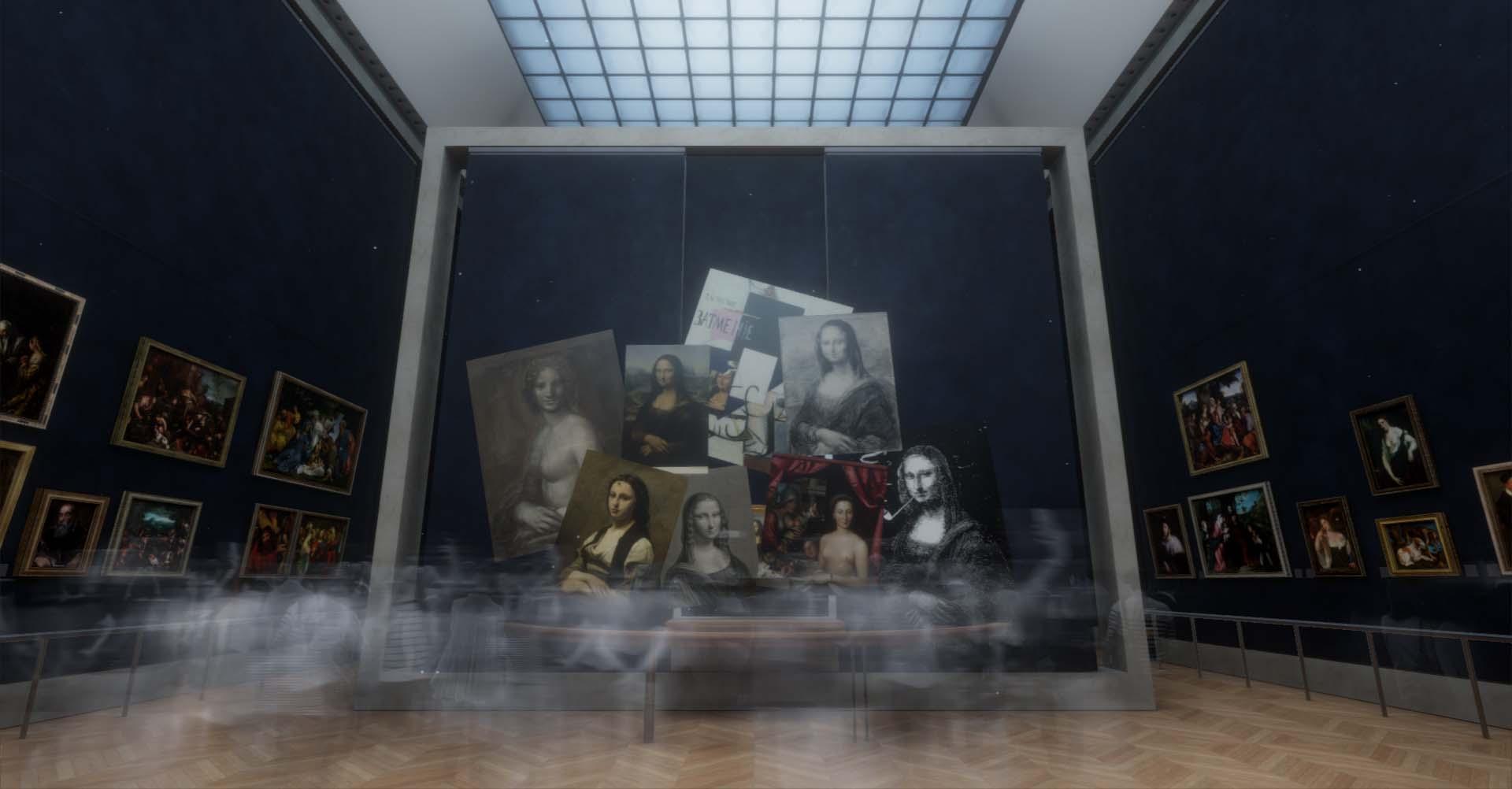 """Vue de l'installation en réalité virtuelle de """"La Joconde"""" au musée du Louvre © Emissive and HTC Vive Arts"""