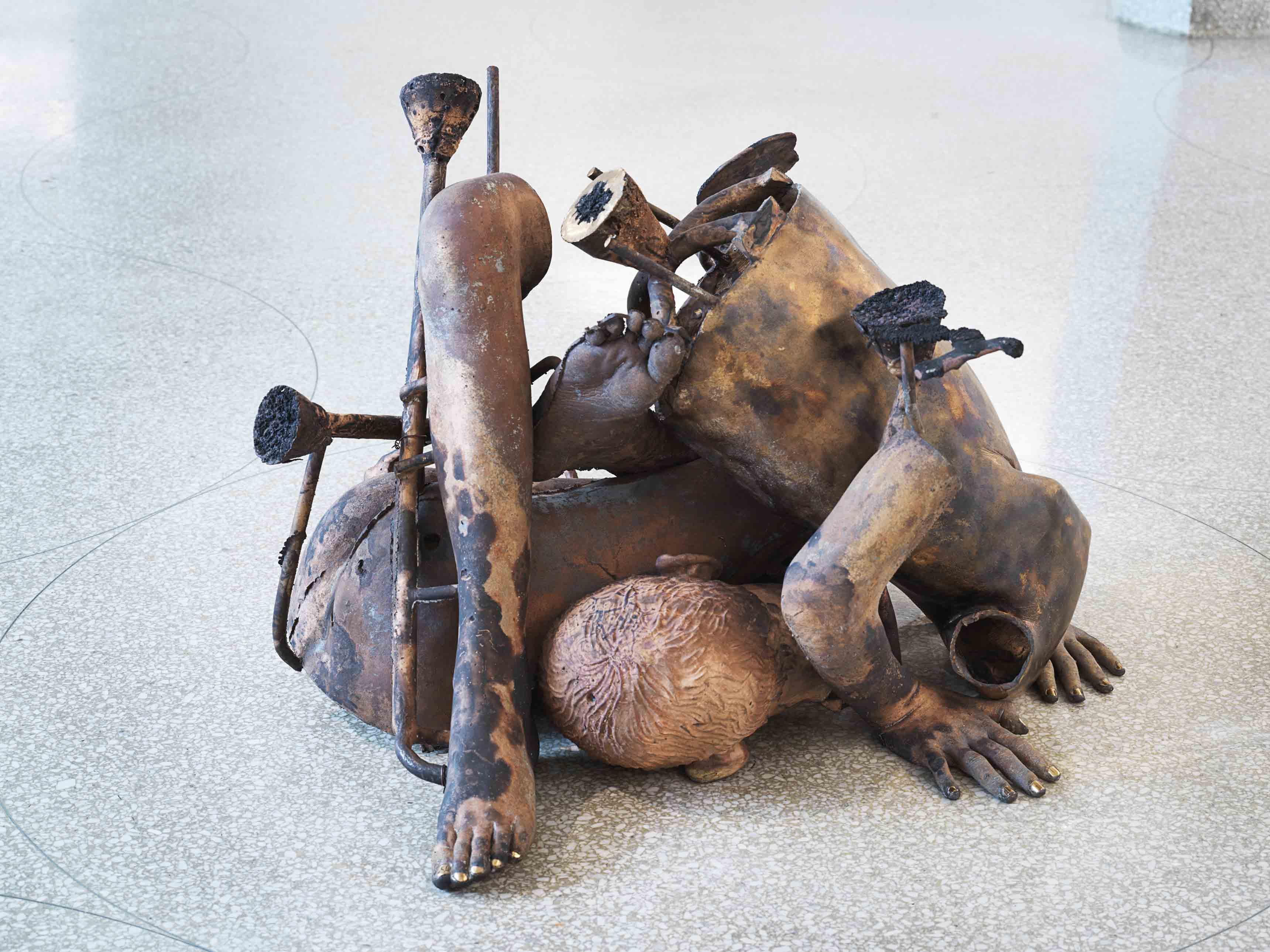 """Détail de l'exposition """"Take My Breath Away"""" (2018), au Solomon R. Guggenheim à new York."""