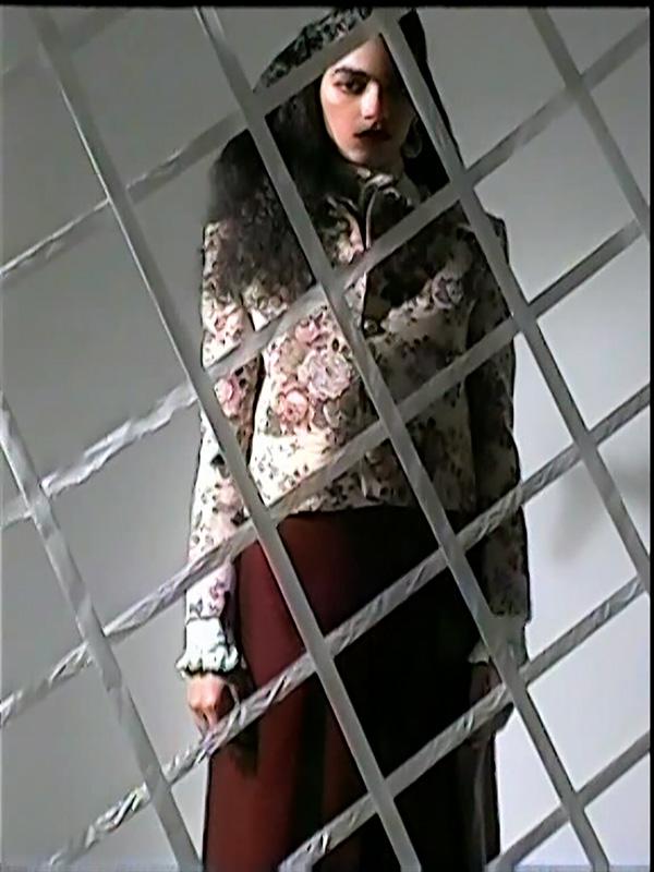 Veste en jacquard, CELINE PAR HEDI SLIMANE. Jupe- culotte en cuir vintage.