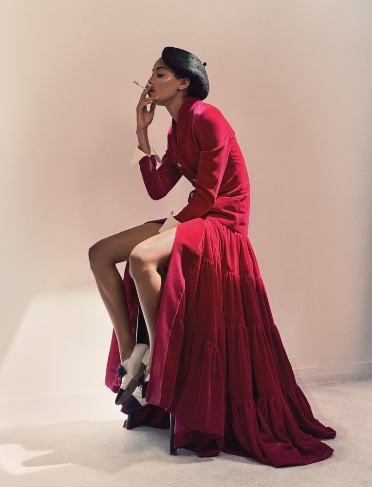Robe manteau évasée en velours de soie rose fuchsia et chaussures, CHANEL HAUTE COUTURE.