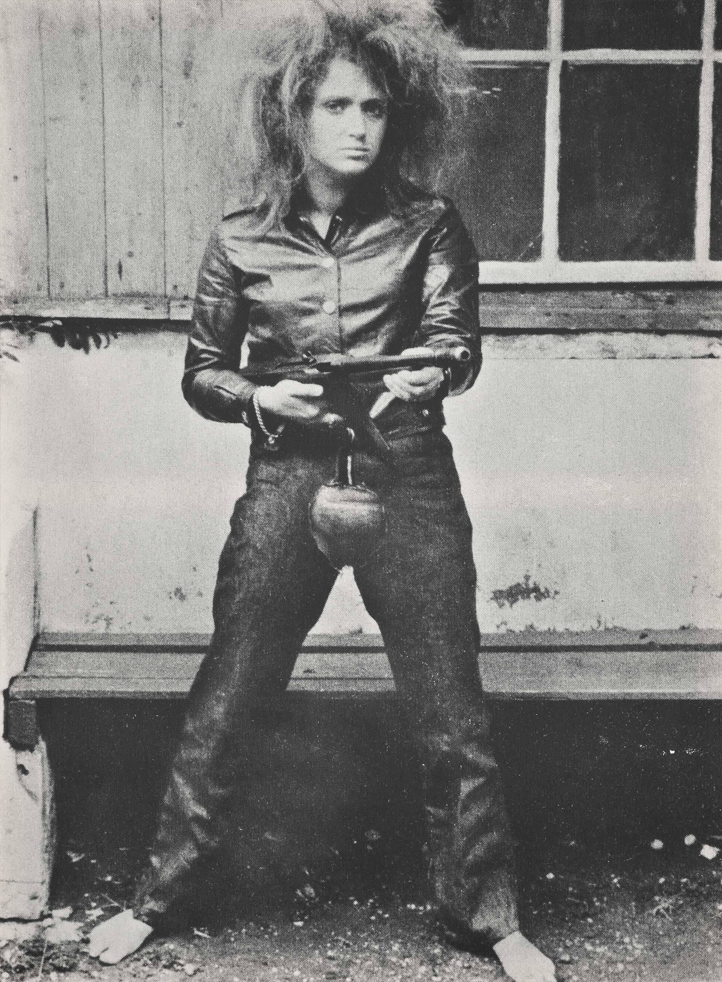 """VALIE EXPORT, """"Aktionshose: Genitalpanik"""", sérigraphie sur toile, 1969/1982.  © VALIE EXPORT, Christie's."""